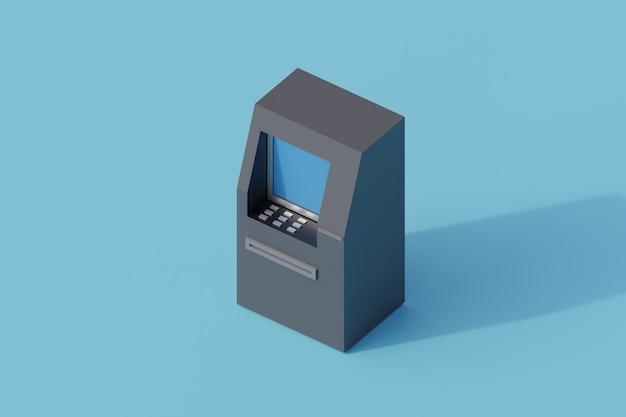 Pojedynczy izolowany obiekt bankomatu. 3d render ilustracji izometryczny