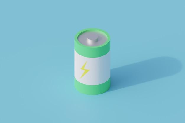 Pojedynczy izolowany obiekt baterii. 3d render ilustracji izometryczny