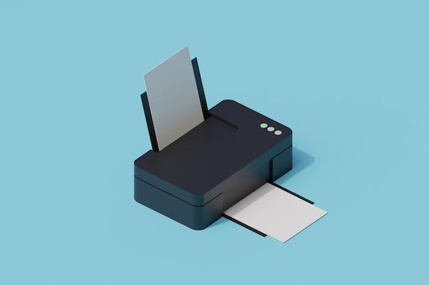 Pojedynczy izolowany obiekt drukarki. 3d render ilustracji izometryczny