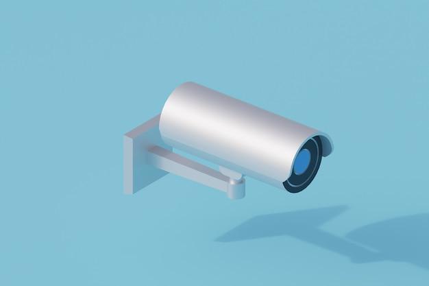 Pojedynczy izolowany obiekt kamery cctv. 3d render ilustracji izometryczny