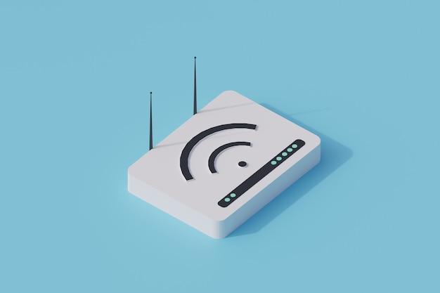 Pojedynczy izolowany obiekt routera wi-fi. 3d render ilustracji izometryczny