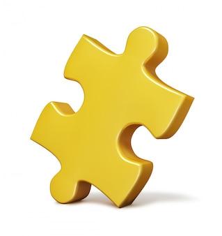 Pojedynczy żółty kawałek układanki na białym tle