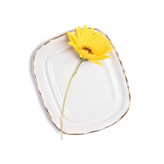 Pojedynczy żółty kwiat stokrotki na ceramicznym talerzu vintage