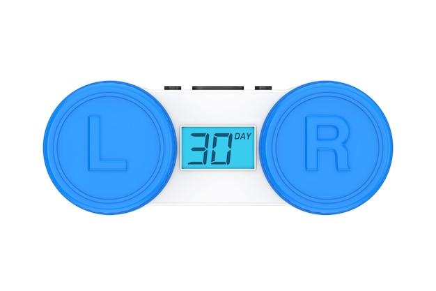Pojemnik na soczewki kontaktowe z cyfrowym wyświetlaczem pokazującym, ile dni pozostało do wymiany soczewki na białym tle. renderowanie 3d