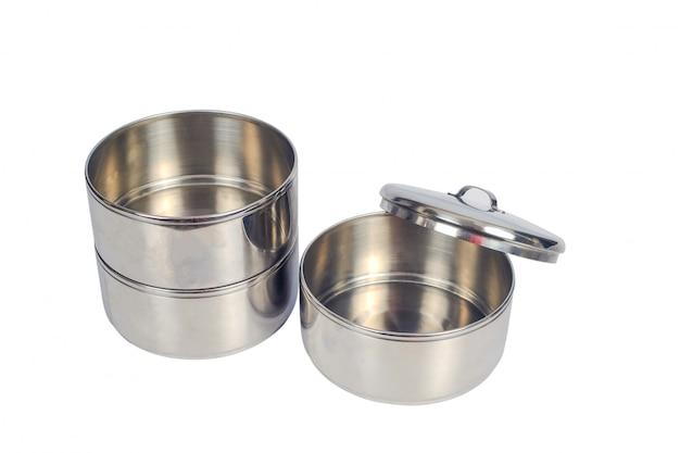 Pojemnik na żywność ze stali nierdzewnej lub pojemnik na żywność tiffin.