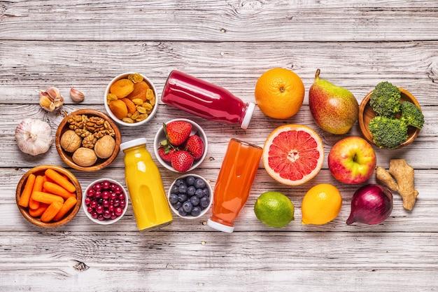 Pokarmy do utrzymania zdrowych płuc, widok z góry.