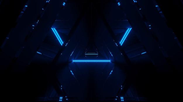 Pokaz laserowy świecących linii neonów na czarnym tle