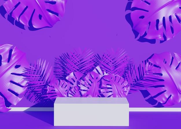 Pokaz podium z tropikalnymi liśćmi palmowymi i rośliną monstera. pusta scena na pokaz produktu. tło czas letni