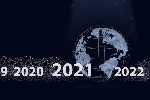 Pokazuje wirtualny świat hologramu 2021 na ciemnoniebieskim tle. koncepcja na nowy rok 2021.