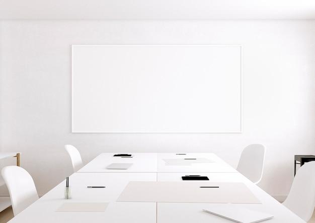 Pokój artysty z białym stołem konferencyjnym