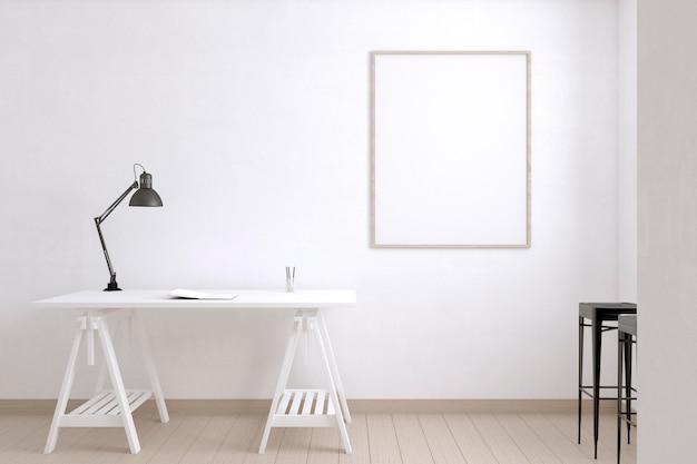 Pokój artysty z biurkiem i lampą