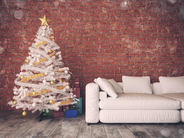 Pokój bożonarodzeniowy i urządzony. rendering i ilustracja 3d,