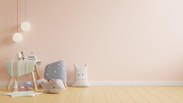 Pokój do pracy dzieci, ściana w pokoju dziecięcym w kolorze jasnokremowym, renderowanie 3d