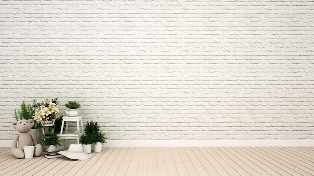 Pokój dziecięcy lub salon w domu lub mieszkaniu - rendering 3d