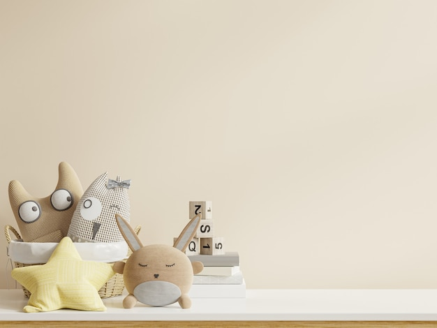 Pokój dziecięcy na ścianie białe kolory background.3d renderowanie