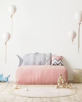 Pokój dziecięcy pusta ściana pokój dziecięcy z różową sofą i miękkimi zabawkami, wnętrze pokoju zabaw renderowanie 3d