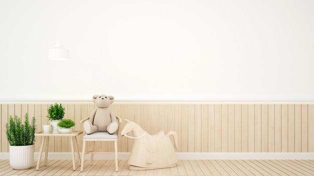Pokój dziecięcy w domu lub pokoju dziecinnym - projektowanie wnętrz - rendering 3d
