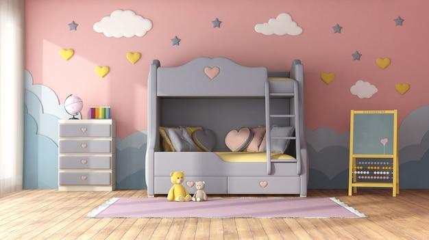 Pokój dziecięcy w pastelowych kolorach z łóżkiem piętrowym, dekoracjami na niebieskiej ścianie, komodą i tablicą