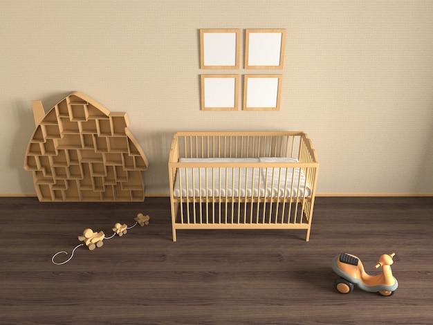 Pokój dziecięcy z drewnianym łóżeczkiem, zabawkami i półkami