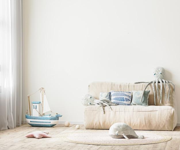 Pokój dziecięcy z łóżkiem i miękkimi zabawkami, biała ściana we wnętrzu pokoju dziecięcego w renderowaniu 3d