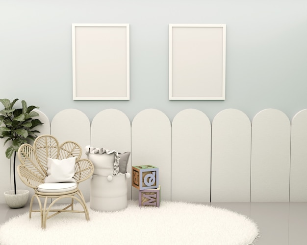Pokój dziecięcy z niebieską ścianą biały panel białe deski zabawki bambusowy fotel rośliny poduszka kosz i dywanik