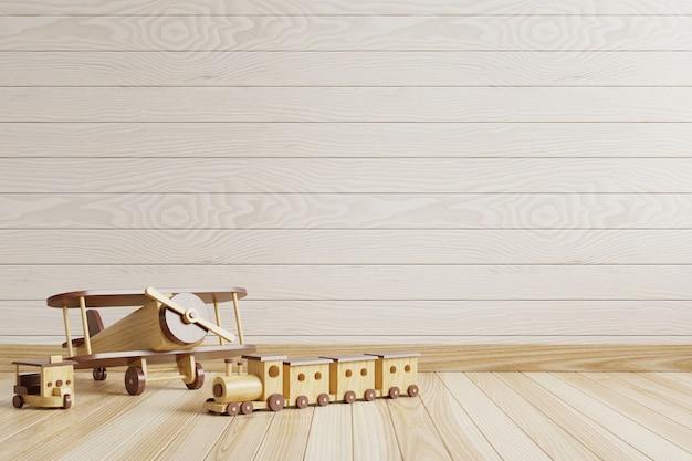 Pokój dziecięcy z pustą drewnianą ścianą i zabawkami na podłodze. renderowanie 3d.