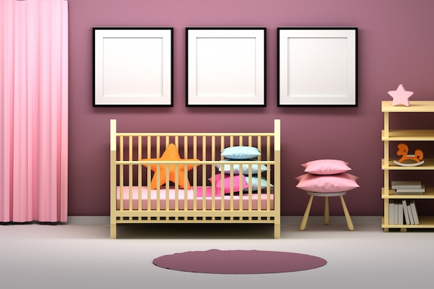 Pokój dziecięcy z ramkami prezentacyjnymi i wieloma przedmiotami