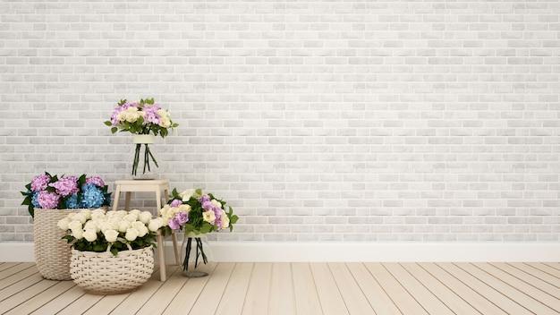 Pokój dzienny lub inny kwiat dekoracji pokoju - rendering 3d