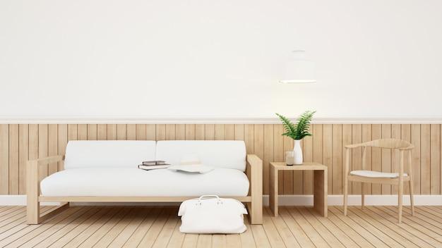 Pokój dzienny w domu lub kawiarni - renderowanie 3d