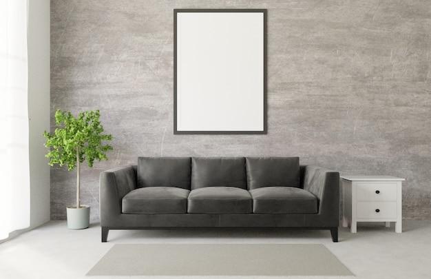 Pokój dzienny w stylu loft z wielkim czarnym sofa surowego betonu makiety
