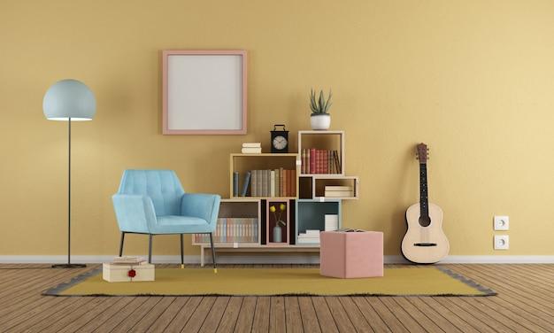 Pokój dzienny w stylu vintage z żółtą ścianą