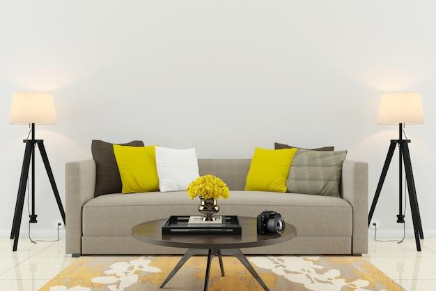 Pokój dzienny wnętrze nowoczesny styl podłogi drewniane ściany szablon tło tekstury