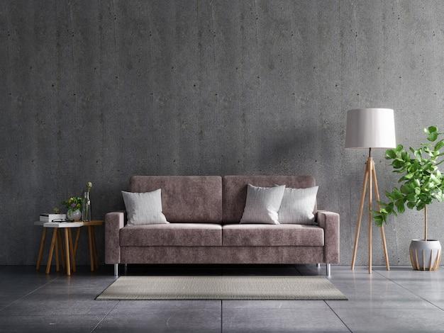 Pokój dzienny z betonową ścianą z sofą i dekoracją, renderowanie 3d