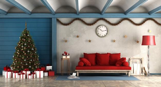 Pokój dzienny z dekoracją christams