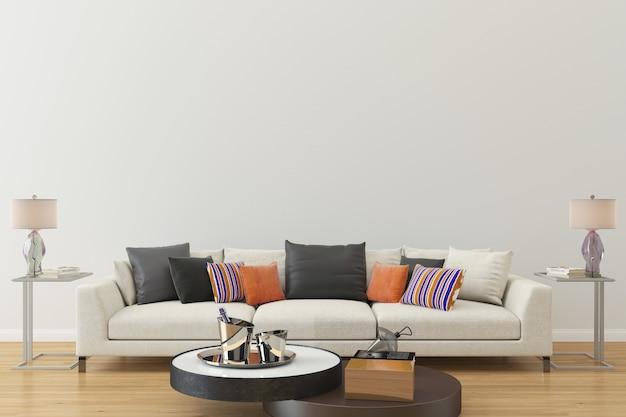 Pokój dzienny z drewnianą podłogą biała kanapa ścienna luksusowa