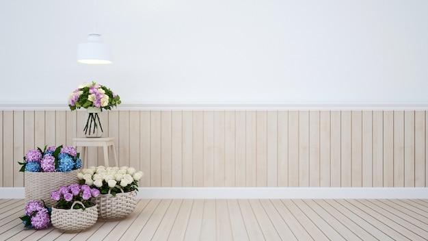 Pokój dzienny z kwiatami