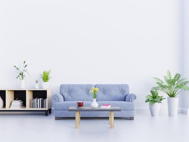 Pokój dzienny z niebieską sofą