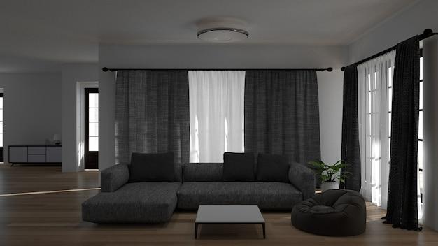 Pokój dzienny z sofą lampa renderowania 3d i zielonym tle drzewa wnętrze