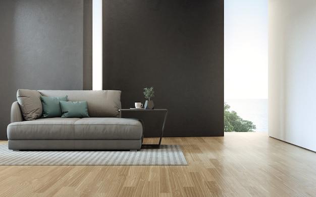 Pokój dzienny z widokiem na morze, luksusowy dom na plaży z sofą na drewnianej podłodze.
