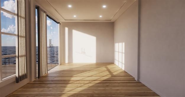 Pokój dzienny z widokiem na morze z pustym pokojem. renderowanie 3d