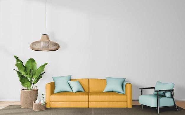 Pokój dzienny z żółtą sofą i wystrojem na tle białej ściany, renderowanie 3d
