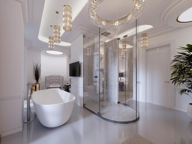 Pokój gościnny z otwartą łazienką, prysznicem i toaletką oraz wanną. nowoczesny apartament. renderowania 3d.