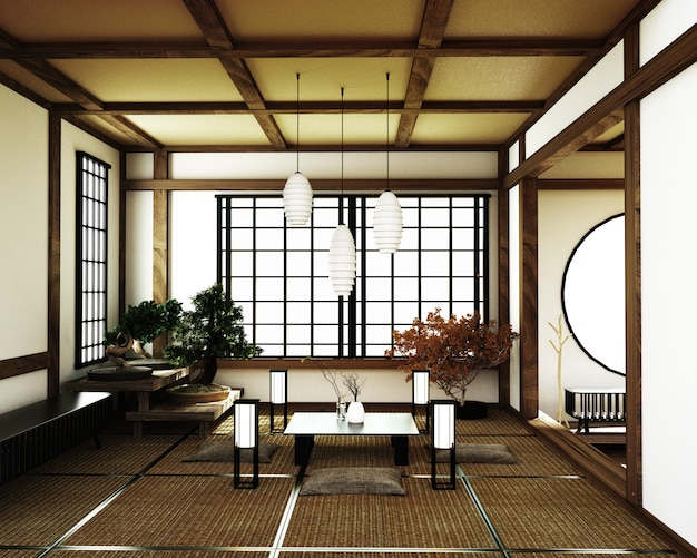 Pokój japoński, styl zen kyoto. renderowania 3d