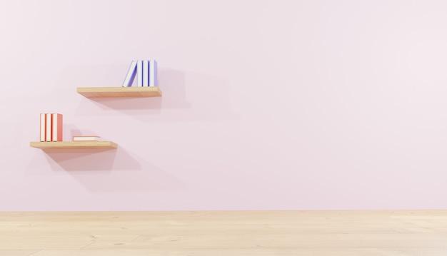 Pokój renderowania 3d tła z półką na książki na ścianie na lekcje na strony internetowe motyw szkolny