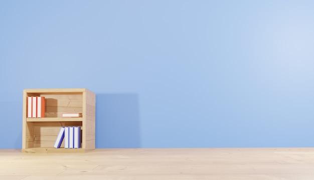 Pokój renderowania 3d tła z półką na książki wypełnioną książkami na lekcje tematu szkolnego i bibliotecznego