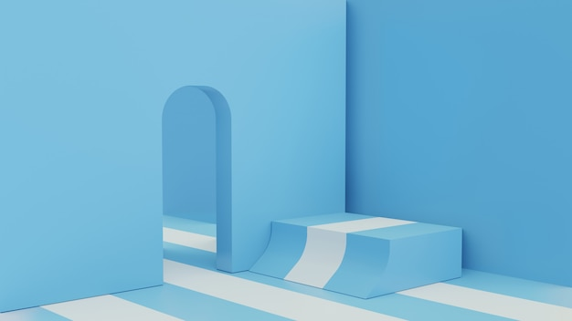 Pokój renderowania 3d z niebieskim i białym paskiem
