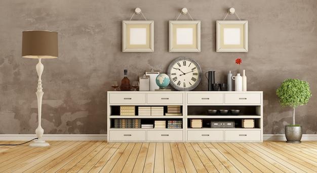 Pokój retro z kredensem i lampą podłogową