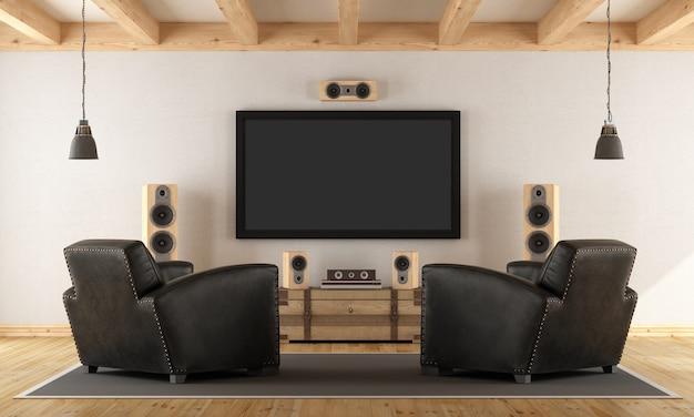 Pokój retro z systemem kina domowego