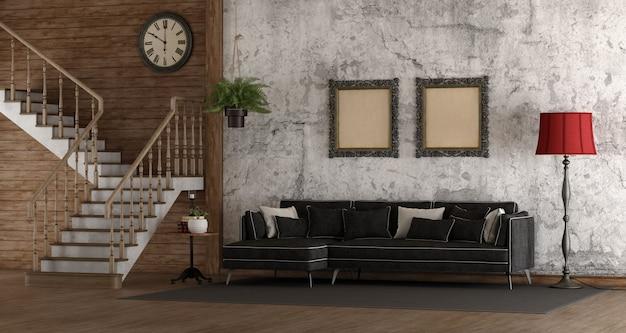 Pokój retro ze schodami i sofą