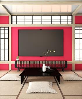 Pokój telewizyjny, inteligentny telewizor na czerwonej ścianie pokoju zen bardzo japońska podłoga z styami i tatami. renderowanie 3d